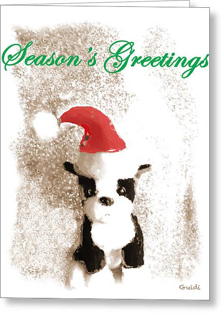 Boston Terrier Greeting Cards Greeting Cards - Boston Terrier- Greeting Card Greeting Card by SL Guidi