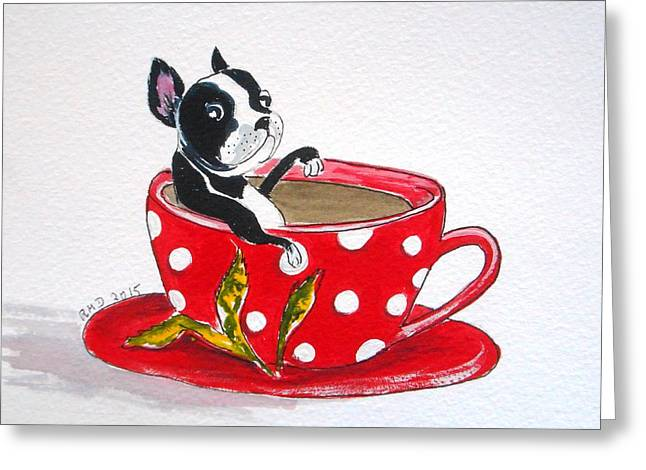 Boston Terrier Watercolor Greeting Cards - Boston Terrier in a Coffee Cup Greeting Card by Rita Drolet