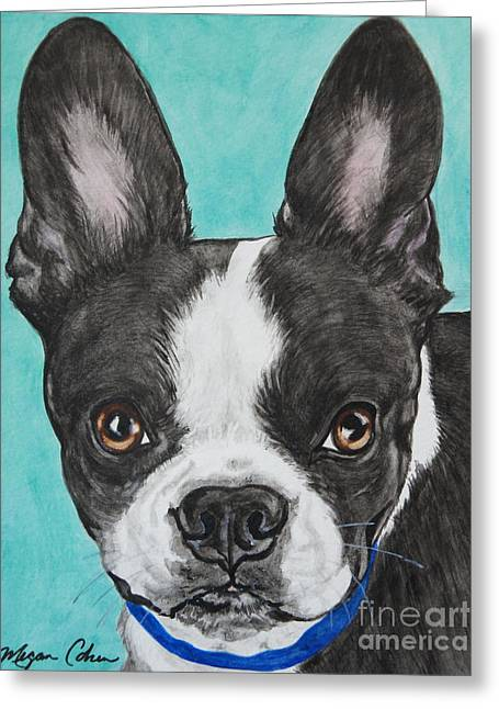 Boston Terrier Watercolor Greeting Cards - Boston Terrier Greeting Card by Megan Cohen