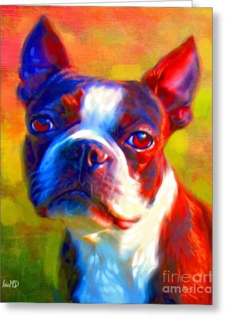 Buy Dog Prints Digital Greeting Cards - Boston Terrier Portrait Greeting Card by Iain McDonald