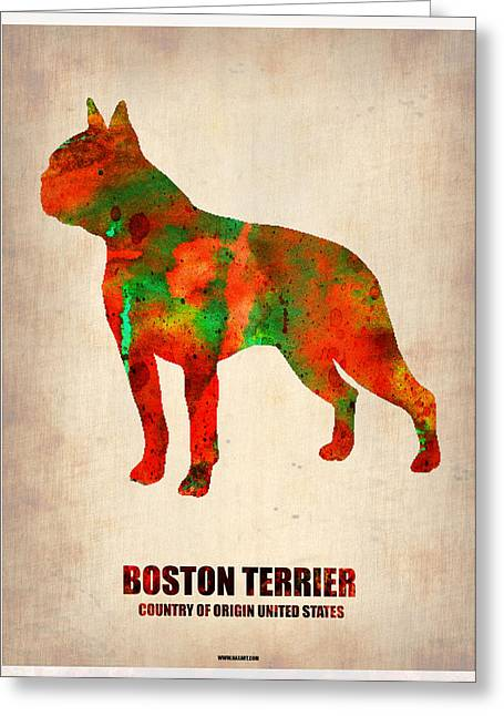 Puppies Digital Art Greeting Cards - Boston Terrier Poster Greeting Card by Naxart Studio