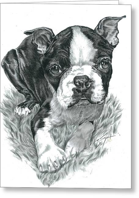 Graphite Digital Greeting Cards - Boston Terrier Puppy Greeting Card by Elizabeth Sage