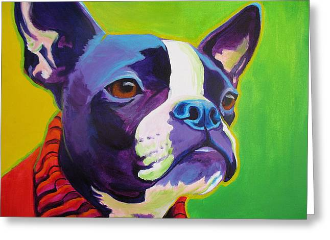 Boston Terrier Greeting Cards - Boston Terrier - Ridley Greeting Card by Alicia VanNoy Call