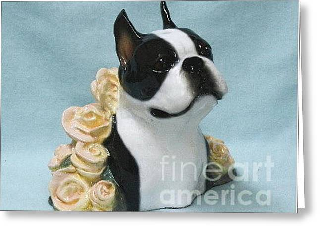 Boston Sculptures Greeting Cards - Boston Terrier Greeting Card by Ron Hevener