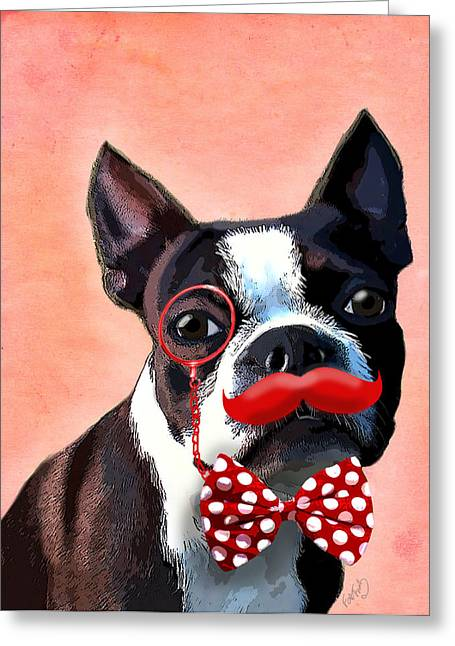 Boston Terrier Framed Prints Greeting Cards - Boston Terrier Small Red Moustache Greeting Card by Kelly McLaughlan