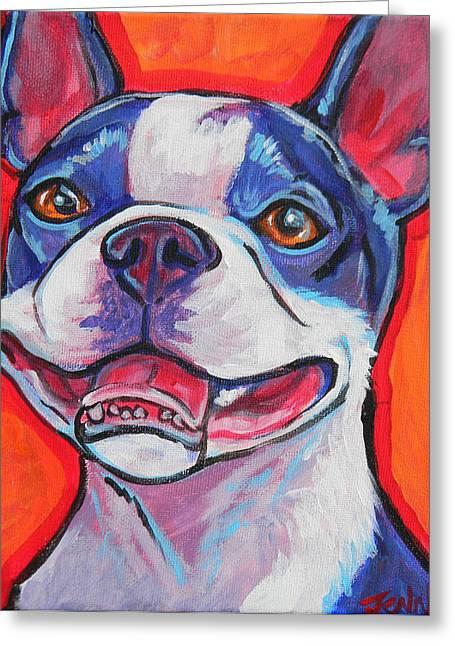 Jenn Cunningham Greeting Cards - Boston Terrier Smile Greeting Card by Jenn Cunningham