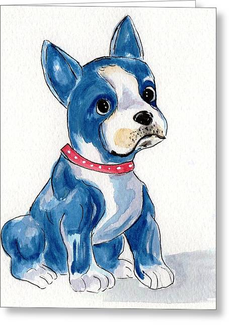 Boston Terrier Watercolor Greeting Cards - Boston Terrier so cute in blue Greeting Card by Rita Drolet