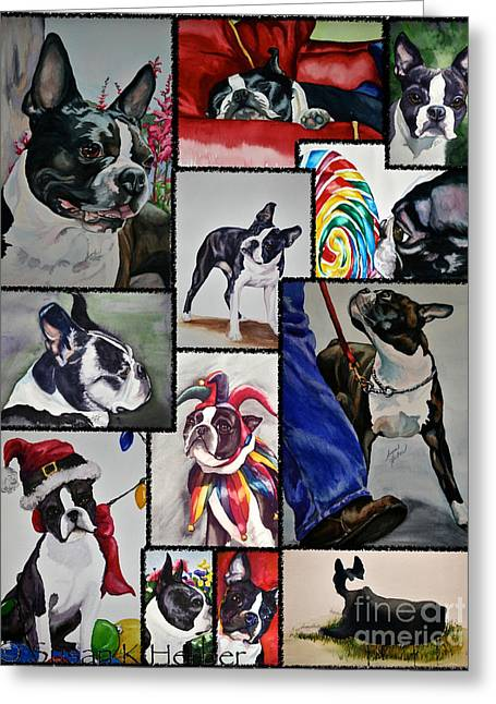 Boston Terrier Watercolor Greeting Cards - Boston Terrier Watercolor Collage Greeting Card by Susan Herber