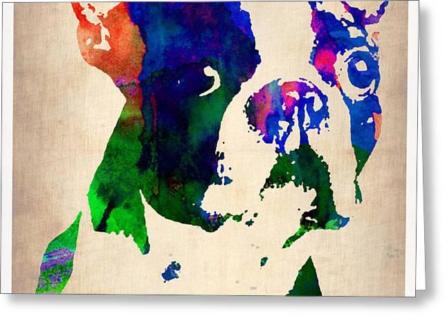 Boston Terrier Watercolor Greeting Card by Naxart Studio