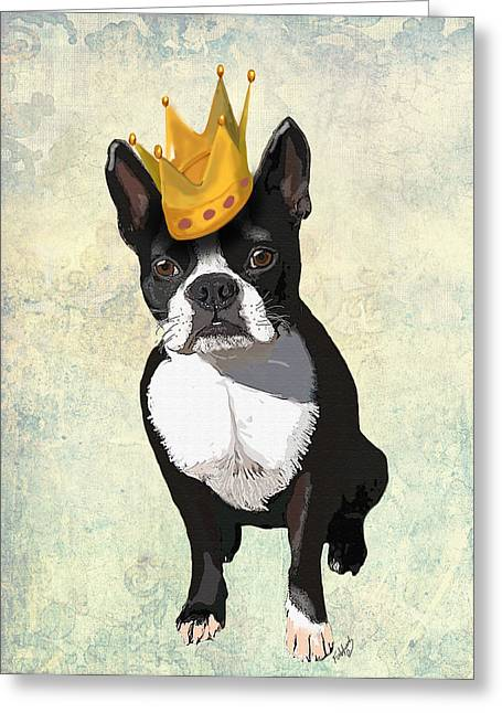 Boston Terrier Framed Prints Greeting Cards - Boston Terrier with a Crown Greeting Card by Kelly McLaughlan