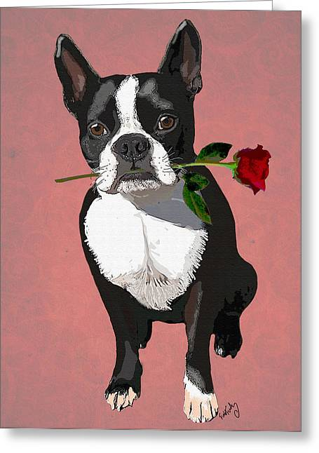 Canine Framed Prints Digital Art Greeting Cards - Boston Terrier with a Rose in Mouth Greeting Card by Kelly McLaughlan