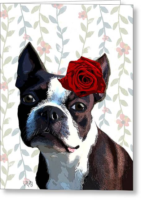 Canine Framed Prints Greeting Cards - Boston Terrier with a Rose on Head Greeting Card by Kelly McLaughlan