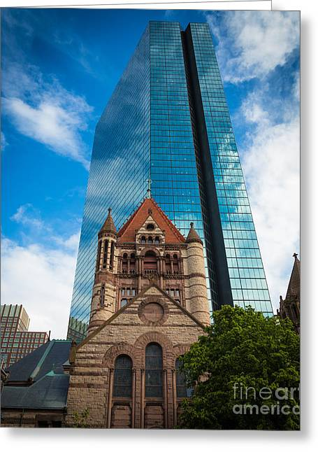 Glass Facades Greeting Cards - Boston Trinity Church Greeting Card by Inge Johnsson