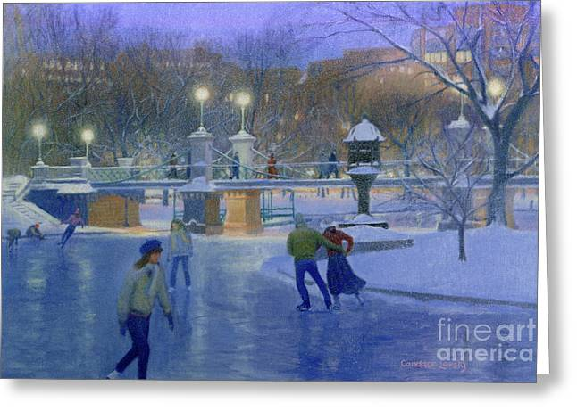 Boston Twilight Skaters Greeting Card by Candace Lovely