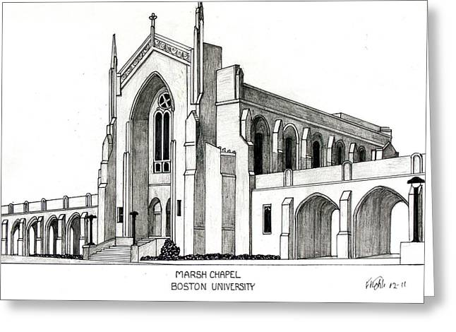 Pen And Ink Drawing Greeting Cards - Boston University Marsh Chapel Greeting Card by Frederic Kohli
