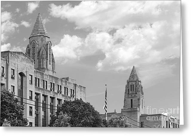 Building Exterior Photographs Greeting Cards - Boston University Towers Greeting Card by University Icons