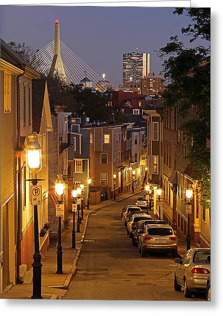 City Lights Greeting Cards - Boston View from Charlestown Greeting Card by Juergen Roth