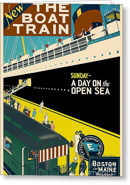Boat Cruise Drawings Greeting Cards - Boston Vintage Travel Poster Greeting Card by Jon Neidert