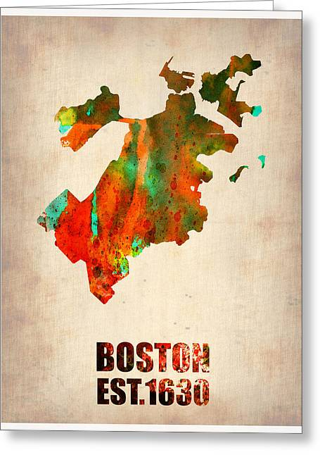 City. Boston Greeting Cards - Boston Watercolor Map  Greeting Card by Naxart Studio