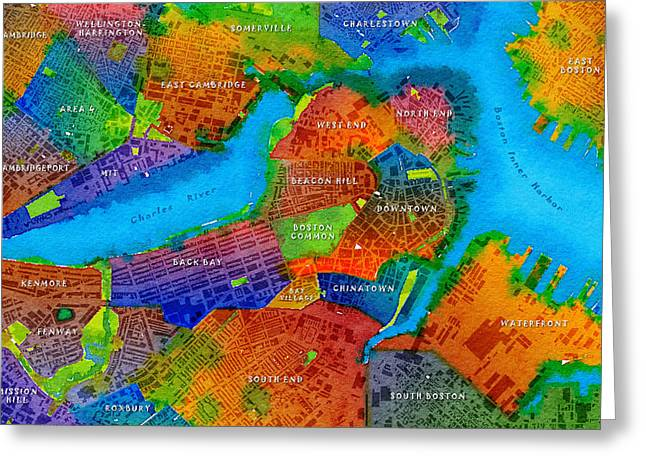 Boston Watercolor Map Greeting Card by Paul Hein
