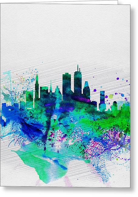 Landscape. Scenic Digital Art Greeting Cards - Boston Watercolor Skyline Greeting Card by Naxart Studio