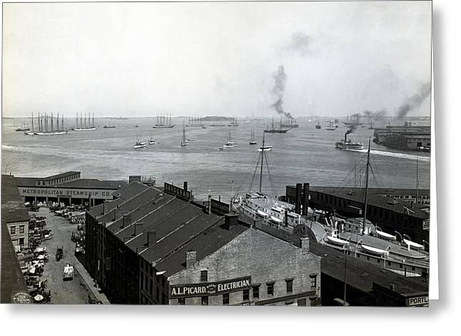White Steamer Photos Greeting Cards - Boston Waterfront 1906 Greeting Card by Mountain Dreams