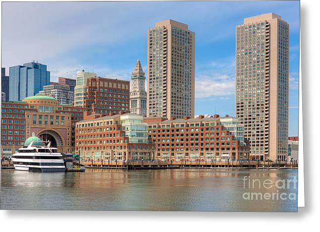 Custom House Tower Greeting Cards - Boston Waterfront Skyline and Rowes Wharf I Greeting Card by Clarence Holmes
