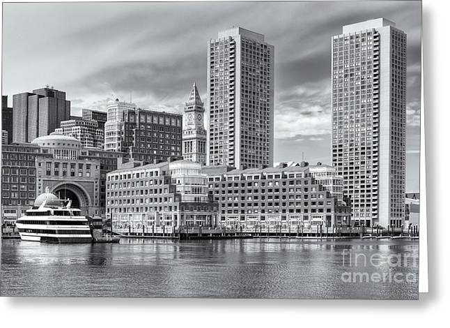 Custom House Tower Greeting Cards - Boston Waterfront Skyline and Rowes Wharf II Greeting Card by Clarence Holmes