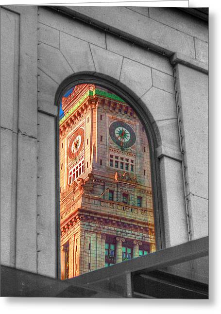 Custom House Tower Greeting Cards - Bostons Custom House Greeting Card by Joann Vitali