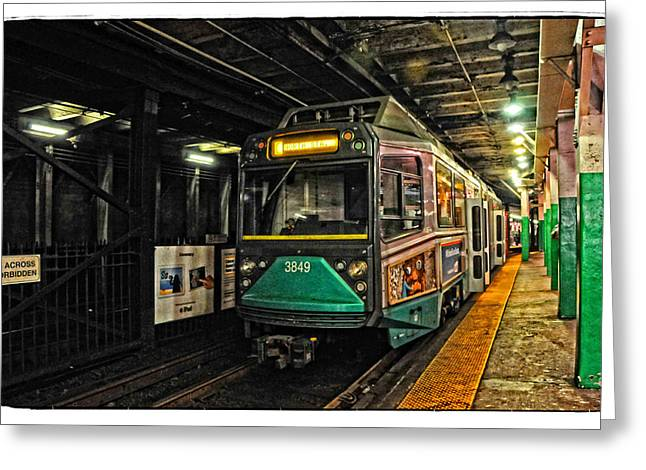Boston Ma Greeting Cards - Bostons MBTA Green Line Greeting Card by Mike Martin