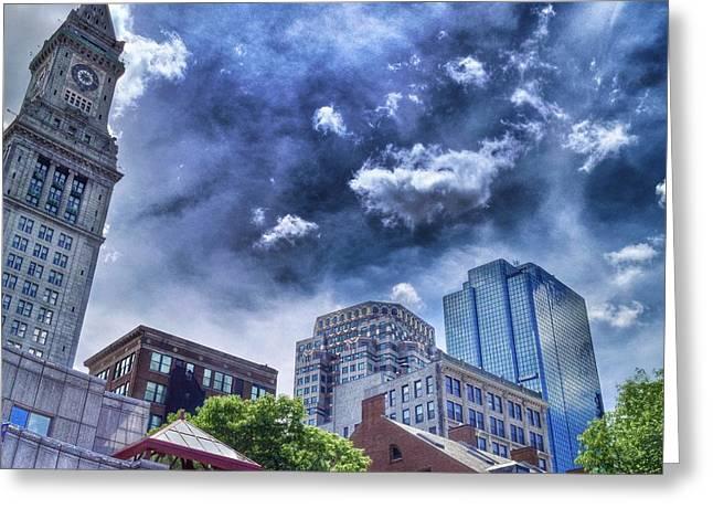 Patrick Greeting Cards - Bostons Skyline Greeting Card by Patrick