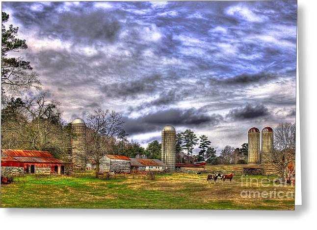 Barn And Silo Greeting Cards - Boswell Dairy Farm Greeting Card by Reid Callaway