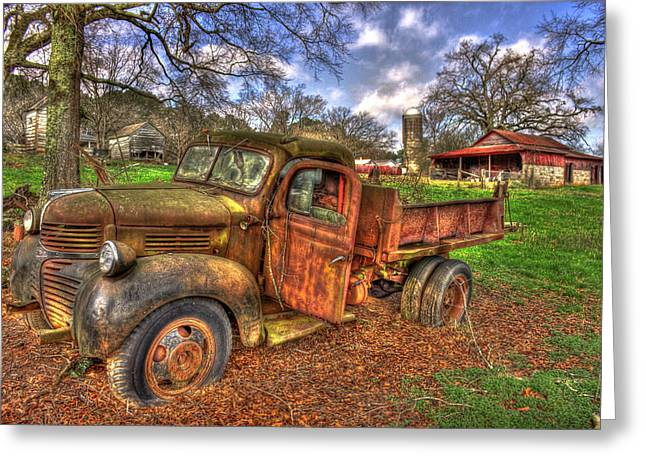 Southern Living Greeting Cards - Boswell Farm Dodge Dump Truck Greeting Card by Reid Callaway