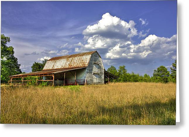 Yearling Greeting Cards - Boswell White Barn and the Afternoon Sun Greeting Card by Reid Callaway