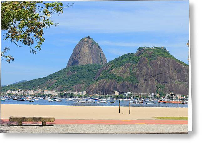 Brazil Greeting Cards - Botafogo beach and Sugar Loaf in Rio de Janeiro Greeting Card by Pedro MC