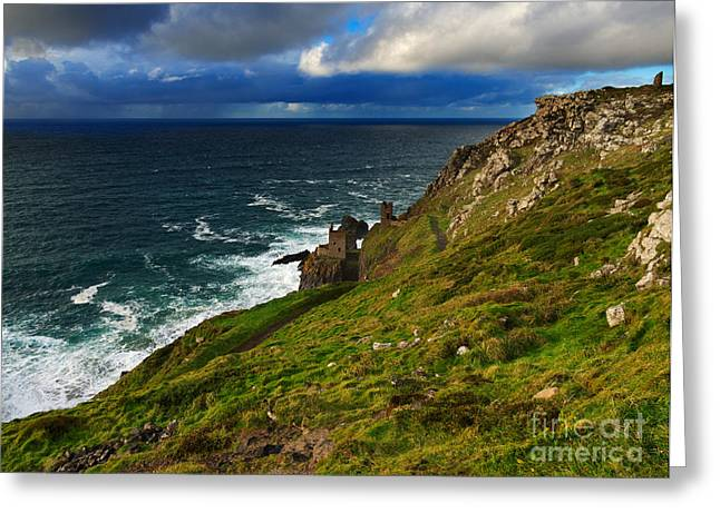 Cliffs And Houses Greeting Cards - Botallack Crown Mines Greeting Card by Louise Heusinkveld