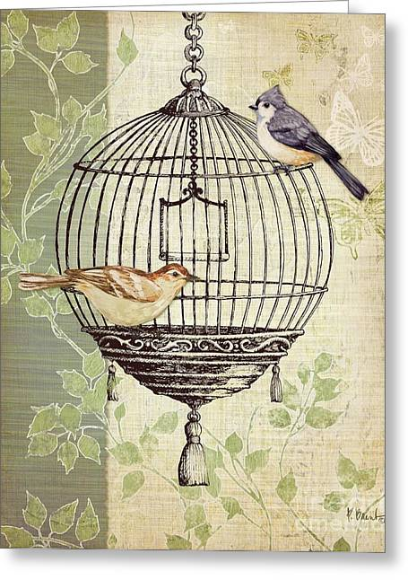 Taupe Greeting Cards - Botanical Birdcage I Greeting Card by Paul Brent