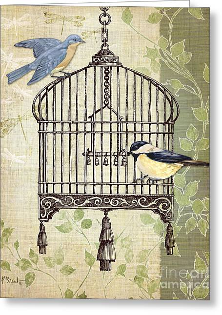 Songbirds Greeting Cards - Botanical Birdcage II Greeting Card by Paul Brent