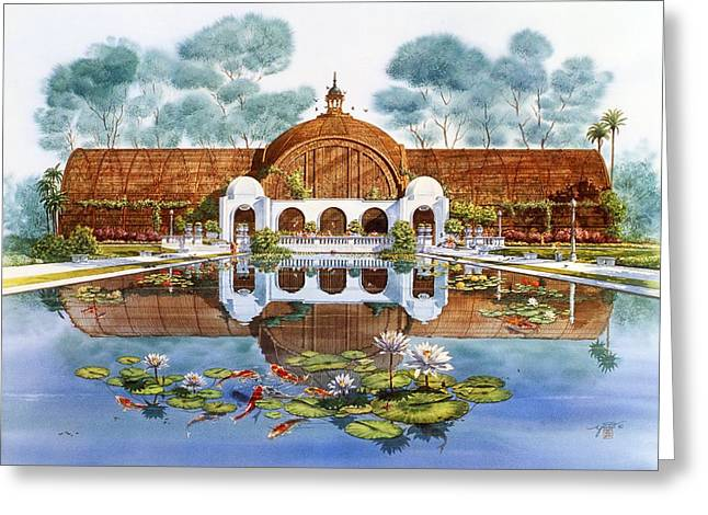 Balboa Park Greeting Cards - Botanical Building And Lily Pond Balboa Park Greeting Card by John YATO