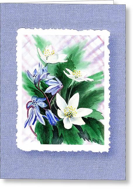 Botanical Impressionism Jasmine Flowers Bouquet Greeting Card by Irina Sztukowski
