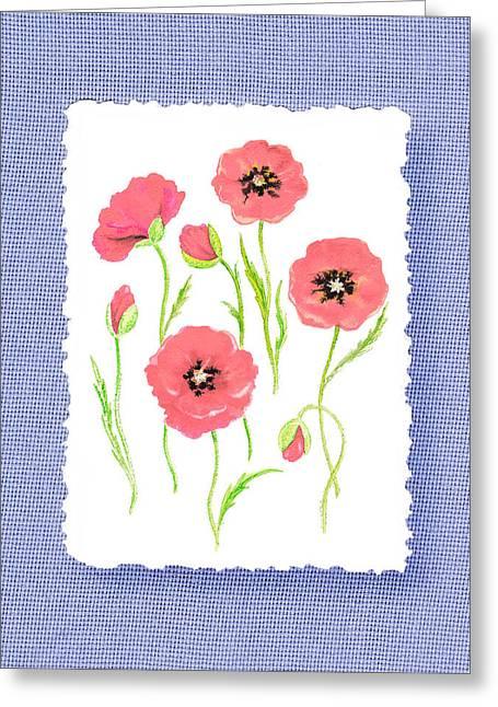 Botanical Impressionism Pink Poppies Bouquet Greeting Card by Irina Sztukowski