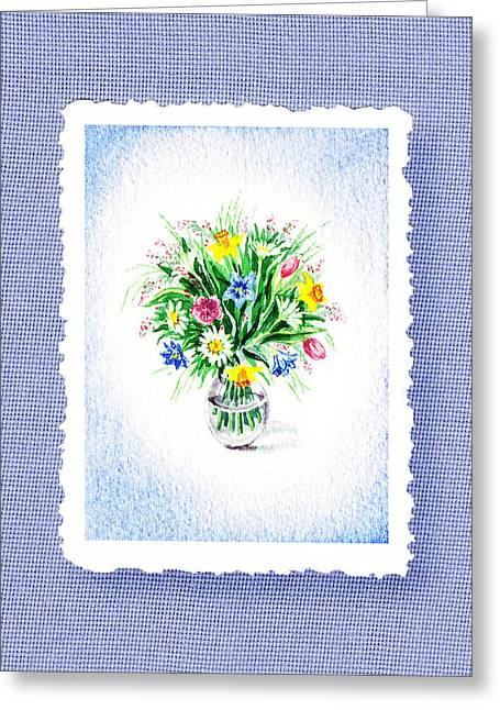 Glass Vase Paintings Greeting Cards - Botanical Impressionism The Burst Of Flowers  Greeting Card by Irina Sztukowski