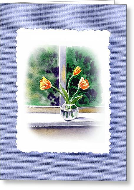 Glass Vase Paintings Greeting Cards - Botanical Impressionism Tulip Bouquet Greeting Card by Irina Sztukowski