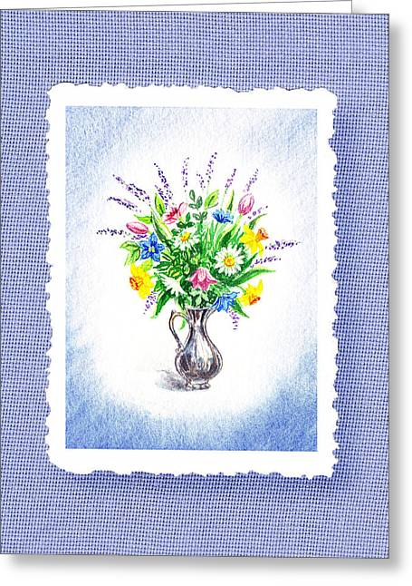 Glass Vase Paintings Greeting Cards - Botanical Impressionism Watercolor Bouquet Greeting Card by Irina Sztukowski