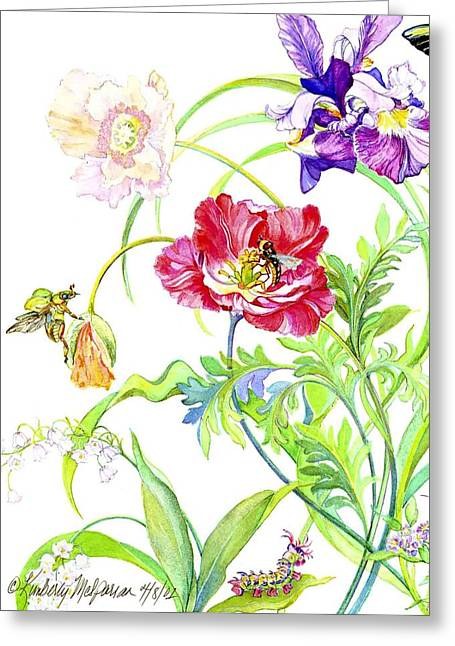 Wasps Greeting Cards - Botanical print Greeting Card by Kimberly McSparran