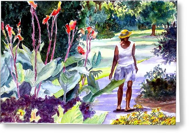 Canna Mixed Media Greeting Cards - Botanical Stroll Greeting Card by Barbara Jung