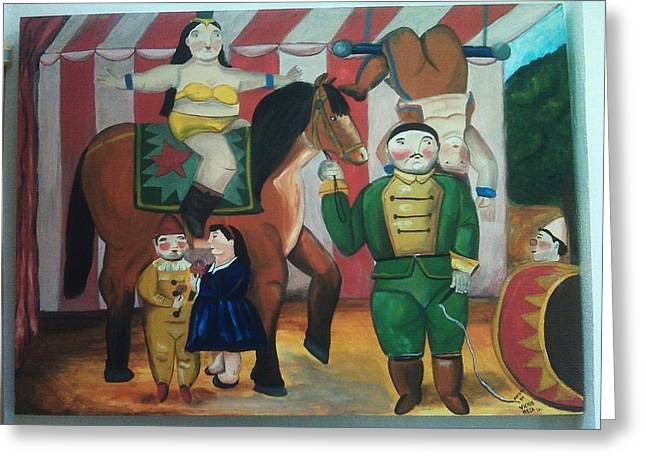 Amazing Stories Greeting Cards - Botero Circus Greeting Card by Vickie Meza