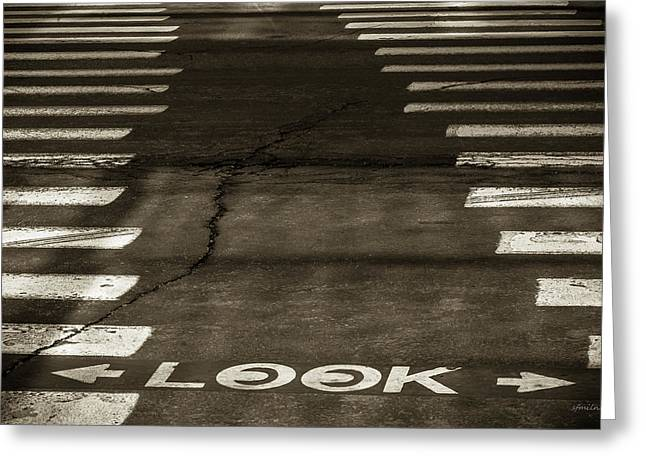 Crosswalk Greeting Cards - Both Ways - Urban Abstracts Greeting Card by Steven Milner