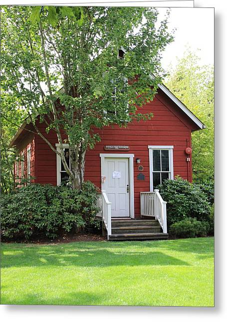 Red School House Photographs Greeting Cards - Bothell WA  One Room Schoolhouse  Greeting Card by Marv Russell