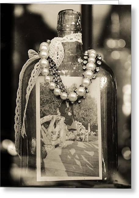 Necklet Greeting Cards - Bottle Greeting Card by Alberto Mirabal